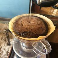 特別にコーヒーの淹れ方を教えていただく。二酸化炭素の作用によってこんもりと盛り上がる