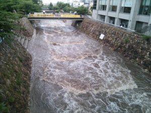 水位が増した都賀川(神戸市灘区 関係者提供)