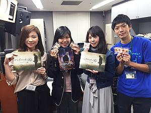 GAGA 小野理恵さん(左) ラヂモエちゃん(中右) 兵庫ベンダ工業 藤井祥平さん(右)