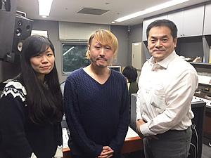 ラジオ関西アナウンサー 林真一郎(右) 映画ライター 田辺ユウキさん(中)